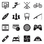 Free Time Icons. Black Flat Design. Vector Illustration.