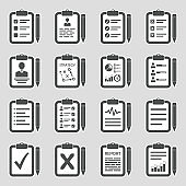 Clipboard Icons. Sticker Design. Vector Illustration.