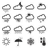 Weather Icons. Set 2. Black Flat Design. Vector Illustration.