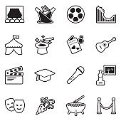 Events Icons. Line With Fill Design. Vector Illustration.