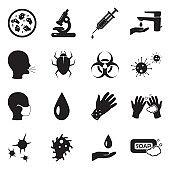 Infection Icons. Black Flat Design. Vector Illustration.