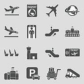 Airport Icons. Set 2. Sticker Design. Vector Illustration.