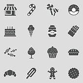 Candy Shop Icons. Sticker Design. Vector Illustration.