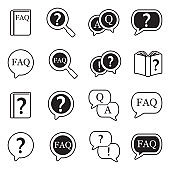 FAQ Icons. Line With Fill Design. Vector Illustration.