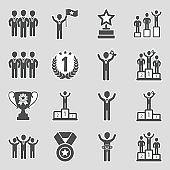 Champion Icons. Sticker Design. Vector Illustration.