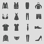 Clothes Icons. Sticker Design. Vector Illustration.