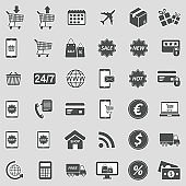 E-Commerce Icons. Sticker Design. Vector Illustration.