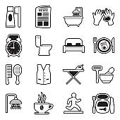 Morning Routine Icons. Line With Fill Design. Vector Illustration.