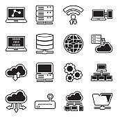 Information Science Icons. Line With Fill Design. Vector Illustration.