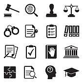 Legal Compliance Standards Icons. Black Flat Design. Vector Illustration.
