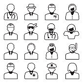People Icons. Line With Fill Design. Vector Illustration.