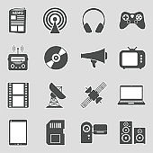 Media Icons. Set 2. Sticker Design. Vector Illustration.