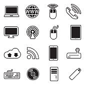 Network And Mobile Devices Icons. Line With Fill Design. Vector Illustration.