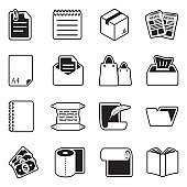 Paper Icons. Line With Fill Design. Vector Illustration.