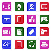 Gadget Icons. White Flat Design In Square. Vector Illustration.