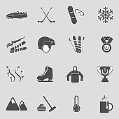 Winter Sports Icons. Sticker Design. Vector Illustration.