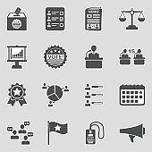 Election Icons. Sticker Design. Vector Illustration.
