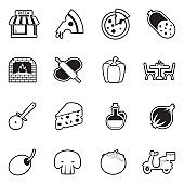 Pizza Icons. Line With Fill Design. Vector Illustration.