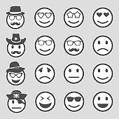 Emotion Icons. Sticker Design. Vector Illustration.