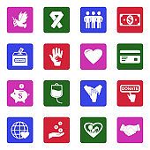 Charity Icons. White Flat Design In Square. Vector Illustration.