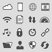 Computer Dashboard Icons. Sticker Design. Vector Illustration.