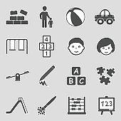 Kindergarten Icons. Sticker Design. Vector Illustration.