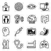 Physical Examination Icons. Line With Fill Design. Vector Illustration.