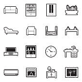 Living Room Icons. Line With Fill Design. Vector Illustration.