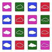 Clouds Icons. Set 2. White Flat Design In Square. Vector Illustration.