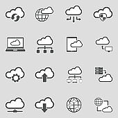 Cloud Computing Icons. Sticker Design. Vector Illustration.