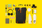 Things in my backpack flat lay