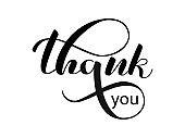 Thank you lettering. Vector illustration for postcard, banner or poster