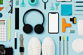 Back to school flat lay on blue background