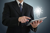 Businessman creative bright idea innovation business leadership