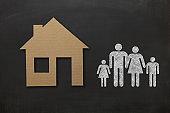 House real estate buy insurance family blackboard