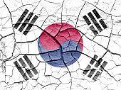 South Korea flag cracked desert drought crisis background