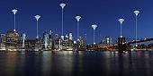 Computer network wireless connection modern city communication technology