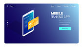 Mobile Banking Application Isometric Design