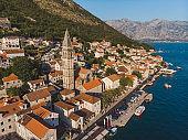 aerial view of perast city in montenegro