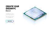 CPU isometric illustration