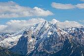 snowcapped Marmolada mountain peak in summer
