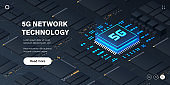 5G network technology microchip illustration