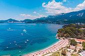 aerial view of sveti stefan beach montenegro