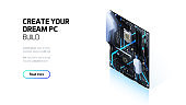 Computer motherboard isometric illustration