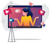 Vlogging Woman Illustration