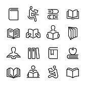 Books Icons Set - Line Series
