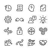 Business and Strategy Icons Set - Line Series