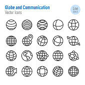 Globe and Communication Icons - Vector Line Series