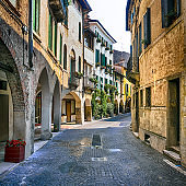 Romantic medieval towns of Italy, Old charming streets of Asolo town. Veneto