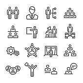 Management and Leadership Icons Set - Line Series
